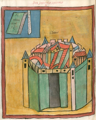 Frontpiece showing town of Olinone